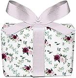 5er Set 5 Bögen Geschenkpapier Rosen Eukalyptus grün rosa rot weiß Boho Geburtstag Taufe Kommunion Konfirmation Ostern Hochzeit Weihnachten, gedruckt auf PEFC zertifiziertem Papier, 50 x 70 cm