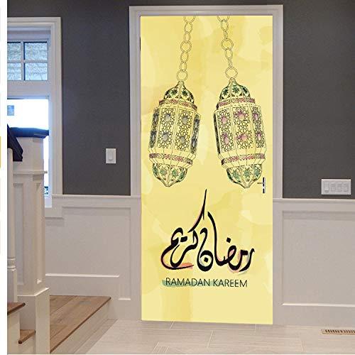 lili-nice Porte Stickers Islamique Style Mur Art Affiche Vintage en Bois Stickers Muraux Salon Murale Stickers Muraux Décoration De La Maison 77 * 200Cm