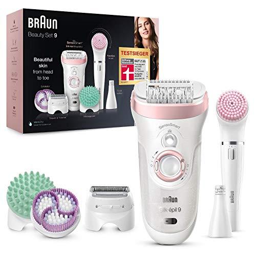 Braun Silk-épil Beauty-Set 9 9-995 Deluxe 9-in-1 Kabellose Wet&Dry Haarentfernung – Epilierer, Rasierer, Peeling, Reinigungskit für Gesicht und Körper, weiß/rosa