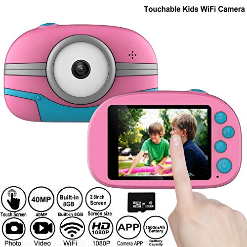 Gurmoir Touchable WiFi Kids Camera/2.8 Inch Touch Screen Children Camera 40MP HD 1080P Video Camcorder Camera, Best Gifts for 3~12 Years Boys/Girls(with 32GB Micro SD Card)