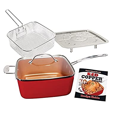 As Seen On TV 5-Piece 10-Inch Square Pan Set - Red Copper