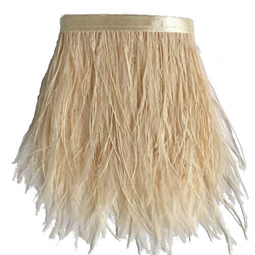 Sowder, orlo sfrangiato con piume di struzzo con nastro di raso per abito, per cucito, artigianato, costumi, decorazioni, confezione da 1,8m Ivory