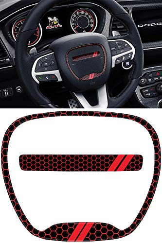 GRIDREADY Steering Wheel Emblem Kit Compatible with 2015-2020 Dodge Challenger | 3D Domed Badge Overlay Decal Trim Cover Sticker Set | Challenger Interior Accessories (Red)