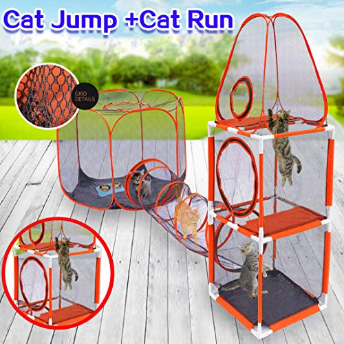 DH HOME 3 in 1 Compound Cat Houses & Condos,Indoor & Outdoor Pet Play House - 3-Levels of Jumping Tower & Hexagon Tent & 1 Tunnel,Pop Up Folding Enclosure Playpens