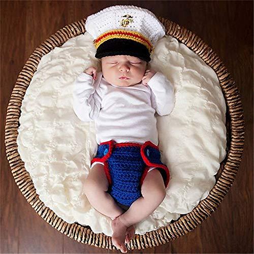Ouuager-Home Baby Fotografie Prop Outfits Fotografie-Klage-Baby-Hut-Klage US Marine Corps Kleinverkehrspolizei Uniform (Color : White+Blue, Size : One Size)