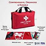 First Aid Kit - 200 piece - for Car, Home, Travel, Camping, Office or Sports | Red bag w/reflective cross, fully stocked… 5