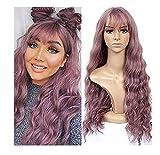 Pelucas para mujeres peluca sintética de moda de onda larga sexy púrpura natural rizado ondulado disfraz pelucas de cosplay para mujeres disfraces sombreros con regalos pérdida de cabello di