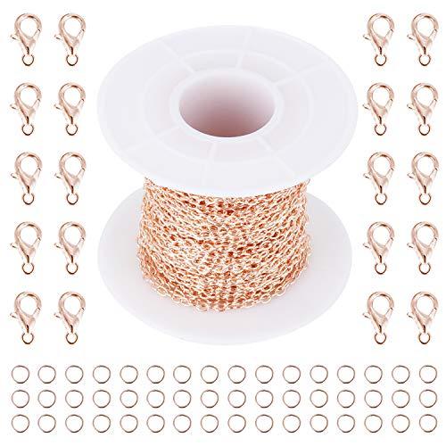 Coolty 10 Metri Collane Fai da Te Catene in Metallo con 50 Anelli di Salto da 4mm e 20 Chiusure a Moschettone da 10mm per la Creazione di Gioielli (Oro Rosa)