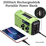 AM/FM NOAA Weather Radio,Portable Solar Hand Crank Emergency Radio with 2000mAh Battery Power Bank,LED Camping…