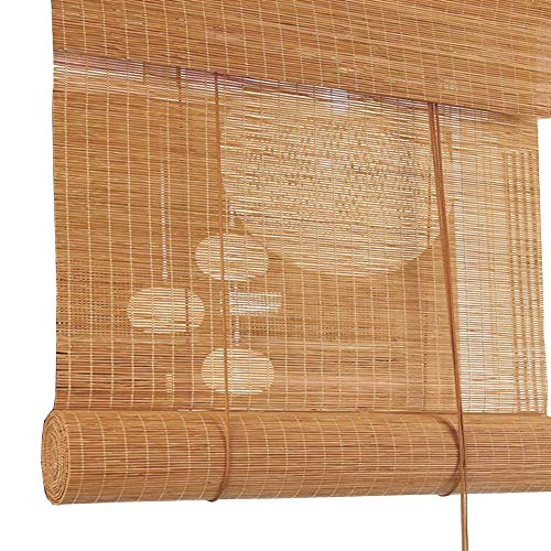 Jcnfa-Roller Shades Blinds Bamboo Roman Shades Blinds, Lift System Ensures Safety and Ease of Use, 60cm/ 80cm/ 100cm/ 120cm Wide (Color : A, Size : W80cm X H90cm)