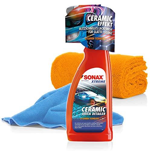 detailmate SONAX Xtreme Ceramic Quick Detailer Trockenreiniger Set für Coating Keramik Versiegelung für Autos + 2X Mikrofasertuch