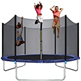 Trampoline for Kids - 10FT Trampoline Outdoor Backyard Trampoline with Safety Enclosure Net Bounding Bed Spring Pad Ladder,Exercise Gym Fitness Trampoline Round Jumping Table for 3-4 Kids Adults
