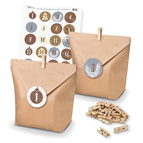 Calendrier de l'Avent à remplir soi-même Itenga - Sacs-cadeaux, supports, autocollants pour les nombres Motiv Z15 Silber Gold Weiß