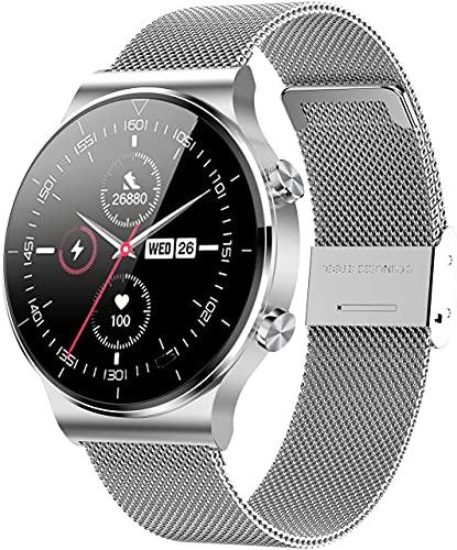 ANMI Smartwatch Uomo,Orologio Fitness Uomo,Elegante Acciaio Smart Watch Bluetooth Digitale Cardiofrequenzimetro da polso Contapassi Impermeabile IP68 Sportivo Activity Tracker Per Android ios(Argento)