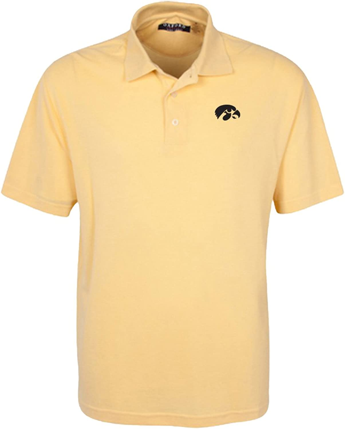 Oxford NCAA Iowa Hawkeyes Men's 3 Button Polo with Hemmed Sleeves