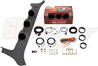 GlowShift Diesel Gauge Package for 1992-1997 Ford F-Series F-250 F-350 7.3L Power Stroke - Tinted 7 Color 60 PSI Boost, 1500 F Pyrometer EGT & 100 PSI Fuel Pressure Gauges - Gray Triple Pillar Pod