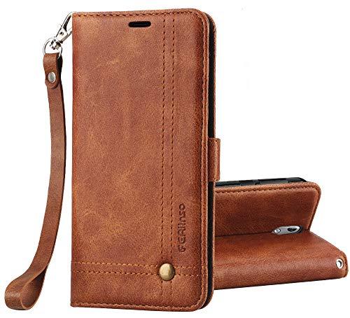Ferilinso Cover Nokia 5.1 Custodia, Cover Pelle Elegante retrò con Custodia Slot Holder per Carta di Credito Custodia di Chiusura Magnetica per Flip per Nokia 5.1(Oro Rosa)