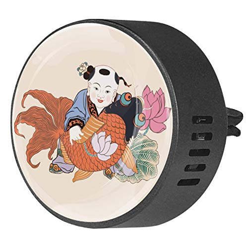BestIdeas 2 clips de ventilación ambientador de coche con loto de pescado Fuwa Año Nuevo chino, difusor de aceite esencial de aromaterapia