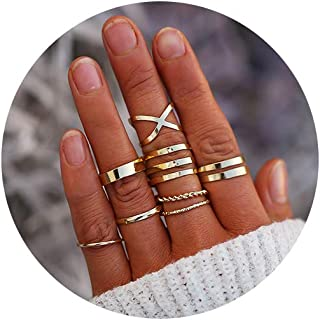 FINETOO 5-14 PCS Midi Rings Knuckle Stacking Multi Size Comfort Fit Silver/Gold Ring Set for Women