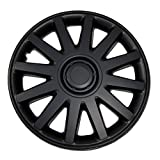 TuningPros WC-15-610-B 15-Inches Pop On Type (Not Fit on Bolt-On Type Steel Wheel) Improved Hubcaps Wheel Skin Cover Matte Black Set of 4