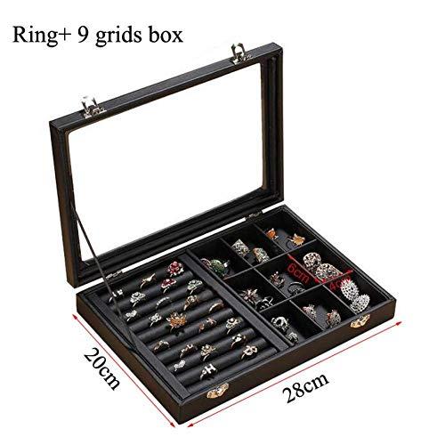 Stijlvolle Eenvoud Lederen Sieraden Organizer Sieraden Display Oorbel Houder Ring Box Ketting Kistje Sieraden Geschenkdoos, DZ 9 Grids and Ring Box