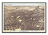 Vintage San Antonio Texas Birds Eye View Map Reproduction Art Print from 1873, Unframed, Wall Art Decor Poster Sign, All Sizes