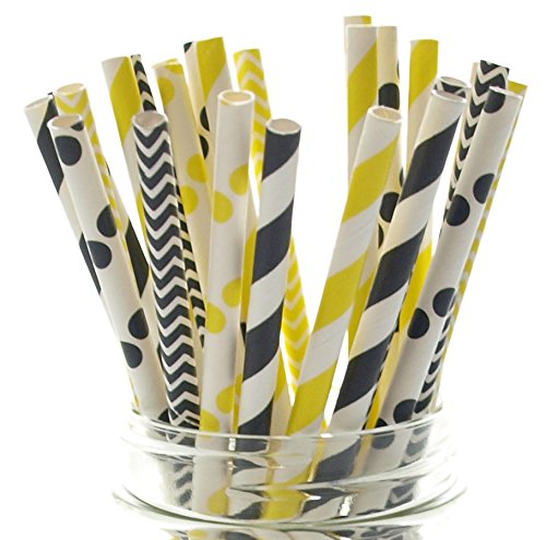 Construction Party Straws (25 Pack) - Black & Yellow Under Construction Birthday Party Supplies, Boys Dump Trucks Road Work Closed to Traffic Construction Site Party Decorations Straws