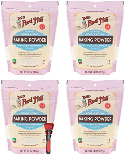 Bob's Red Mill Baking Powder 14 Ounce Double Acting Baking Powder No Added Aluminum Bundle with Swivel Measuring Spoons by Westkitch (4 Pack)