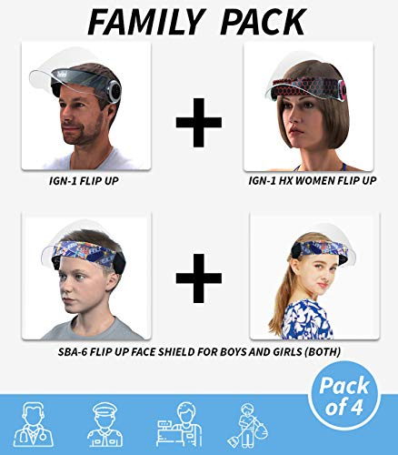 Steelbird Family Pack Flip-Up Face Shield, 1 Men, 1 Women and 2 Kids Face Protection Shield For Four Family members.
