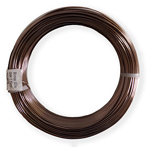 Anodized Aluminum 1.5mm Bonsai Training Wire 250g Large Roll (170 feet) - Choose Your Size and Color (1.5mm, Brown)