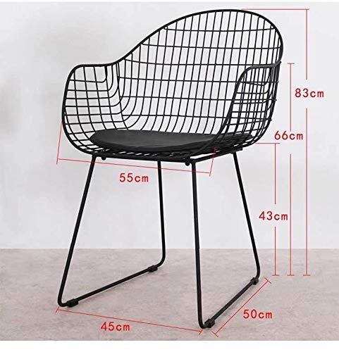 Silla Nordic Hueco Wire Chair Hierro Forjado la Personalidad Simple Comedor Informal Restaurante Sala 3.27 (Color : Black)