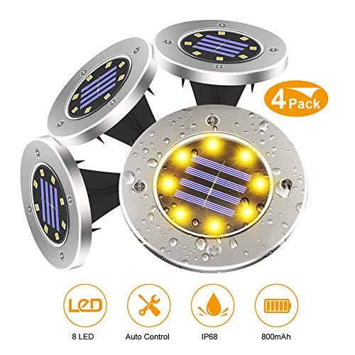 Luce Sepolta Solare, 8 LED Luci Solari per Giardino IP68 Lampada Faretti Solari da Giardino per Vialetto Scala Strade Aiuola, Bianco Caldo, 4 Pezzi