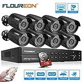 FLOUREON DVR Video Kit de vigilancia (8CH 1080N AHD DVR + 4 *1080P 3000TVL...