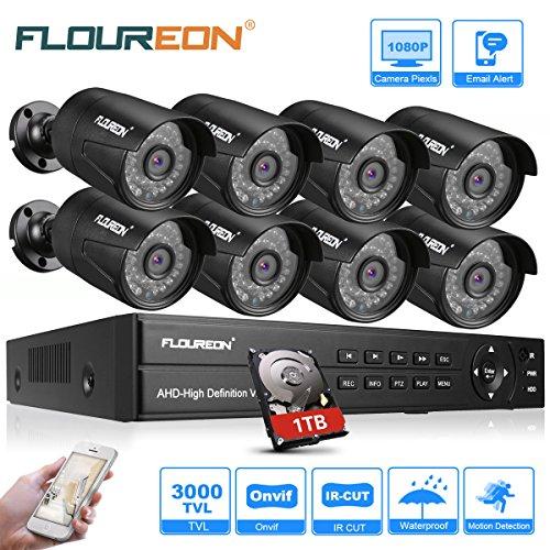 FLOUREON Sistema de Cámara CCTV 8CH 1080N AHD DVR Kit 1TB HDD 8PCS 3000TVL 1080P 2.0MP Seguridad de Cámara IP Resistente al Agua Aire Libre TVI/CVI/Analógico Detección de Movimiento Visión Nocturna