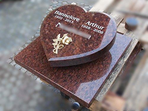 designgrab Liegestein Herz auf Grabplatte aus Granit Vanga, inkl. Beschriftung