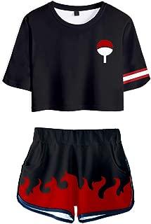 Women 2Pcs Naruto Cosplay Outfits Akatsuki Crop Top T-Shirt and Shorts Sets