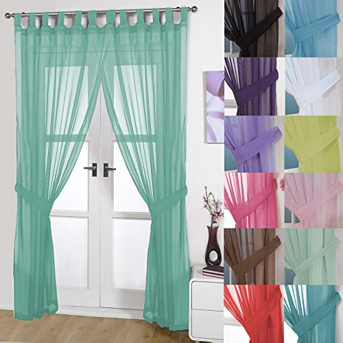 John Aird Pair Of Woven Voile Tab Top Curtain Panels. Free Tiebacks Included (Pastel Green, 58' Wide x 72' Drop)