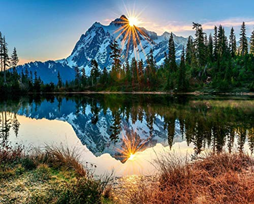 TOCARE 5D Diamond Painting Kits for Adults Kids 16x20Inch/50x40cm Large Full Drill Nature Landscape Scenery Embroidery Dotz Birthday Christmas Day Home Wall Art Decor, Tranquil Mountain Lake