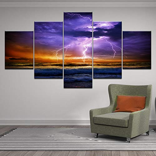 Factorydiy Wand Leinwand Hd-Druck 5 Stück Leinwand Dunkle Wolken Blitz Meer Ozean Sturm Gemälde Wandkunst Bilder Für Wohnzimmer Wohnkultur Poster-A-No Framed_20X35X2 + 20X45X2 + 20X55Cmx1