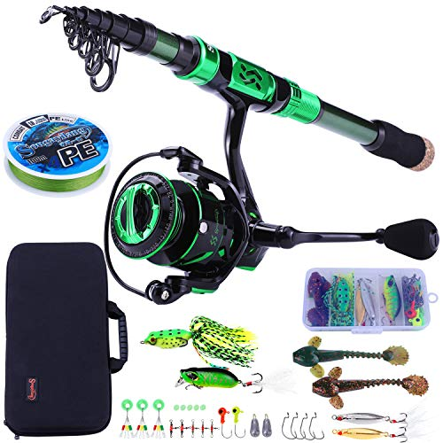 Sougayilang Fishing Rod and Reel Combos - Carbon Fiber Telescopic Fishing Pole - Spinning Reel 12 +1 BB with Carrying Case for Saltwater and Freshwater Fishing Gear Kit(Green 7.87ft -3000)