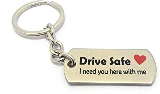 Mist Stainless Steel Special Edition (Limited Stock) Drive Safe Handsome Engraved Keychain Keyring for Husband Boyfriend Gift