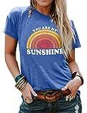 Dresswel You Are My Sunshine T-Shirt Damen Kurzarm Rundhals Tee Shirts Regenbogen Grafik Drucken...