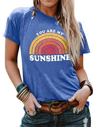 Dresswel You Are My Sunshine T-Shirt Damen Kurzarm Rundhals Tee Shirts Regenbogen Grafik Drucken Oberteile Tee Tops