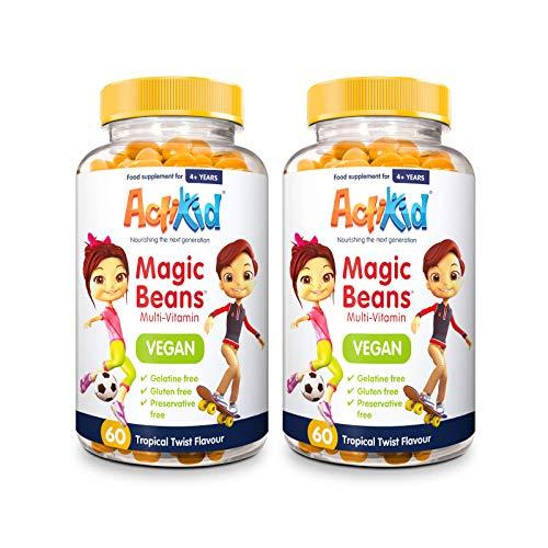 2X ActiKid Magic Beans Vegan Multi-Vitamin 60x Tropical Twist Flavour | Gelatine Free | Children's Vitamin | Immune System Booster