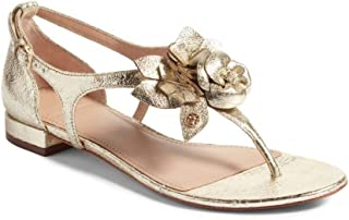 Tory Burch Blossom Flat Sandal, Smooth Metallic Leather, Spark Gold