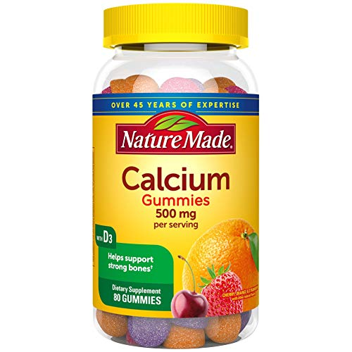 Nature Made Calcium 500 mg helps support Bone Strength with Vitamin D3 700 IU for Immune Support, Gummies, 80 Count