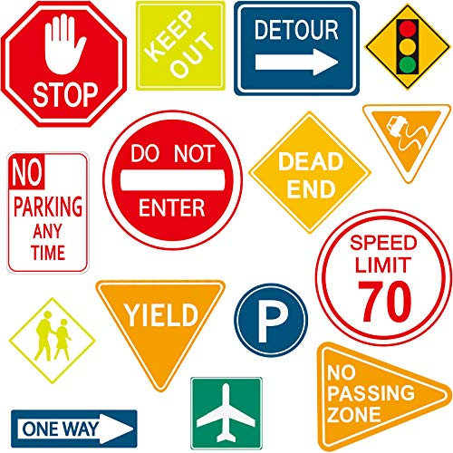 15 Pieces Road Signs Wall Decal Traffic Sign...
