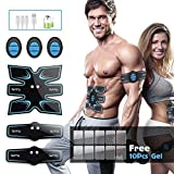 OSITO Abs Stimulator Abdominal Muscle Toner EMS Training Fitness Gear with 10 Extra Gel Pads, Rechargeable Portable Exerciser Device for Men Women Home Office Workout Equipment
