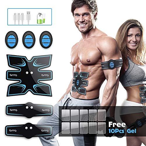 EMS Muskelstimulator, OSITO ABS Trainingsgerät/Elektrisch Bauchmuskeltrainer, 3 in 1 USB Aufladung Muskelstimulation Elektrisch für Bauch, Arm, Bein-Fitness (10 Pads Gel) - 11 Modi 25 Intensitäten