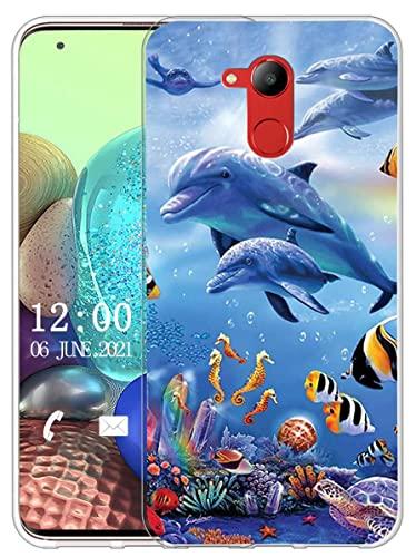 Sunrive Funda Compatible con Honor 6C Pro, Sunrive Silicona Slim Fit Gel Transparente Carcasa Case Bumper de Impactos y Anti-Arañazos Espalda Cover(X Ballena)